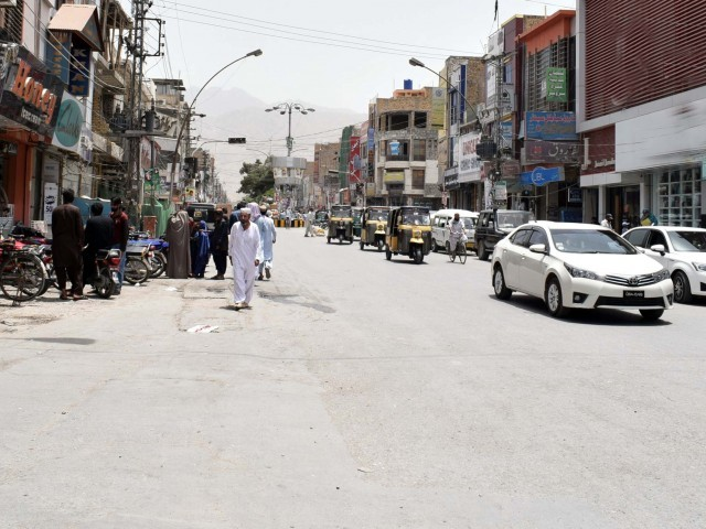 Shops are seen closed in Quetta. PHOTO: EXPRESS
