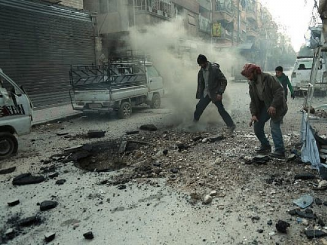Shelling in southern Syria. PHOTO: AFP.