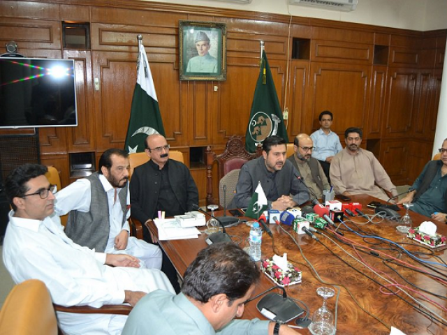 Caretaker Balochistan Chief Minister Alauddin Marri chairing a meeting of the provincial cabinet. PHOTO: EXPRESS
