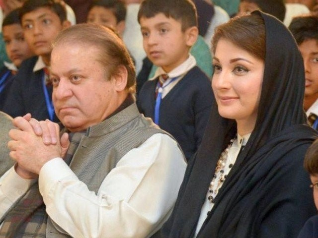 Former PM Nawaz Sharif and daughter Maryam Nawaz. PHOTO: FILE