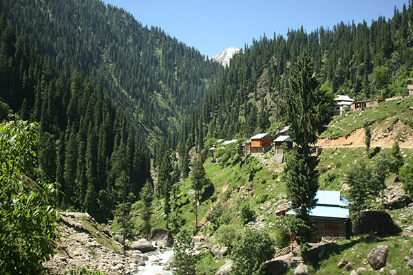A view of tourist huts in the mountainous Neelum valley in Pakistan. PHOTO: AFP