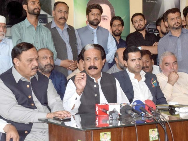 PML-N leaders in Pindi raise questions on election conduct. PHOTO: AGHA MEHROZ/EXPRESS