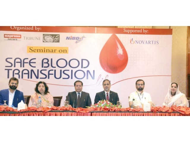 Dr Saquib Ansari, Dr Saba Jamal, Dr Zahid Ansari. Health Secretary Usman Chachar, Dr Tahir Shamsi and Dr Dur-e-Naz at the seminar on safe blood transfusion. PHOTO: EXPRESS