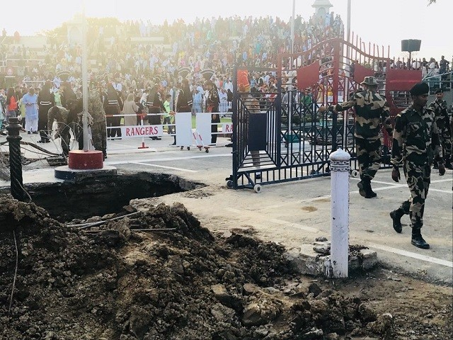 Digging has started for the installation of new gates of the similar structures at Wagah Border. PHOTO: EXPRESS