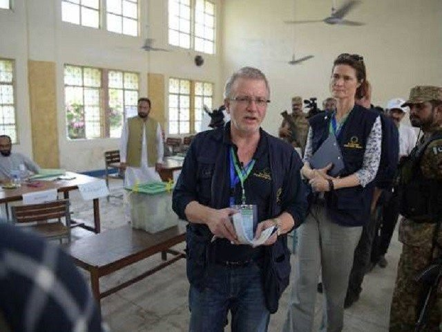 European Union observers monitor elections in Pakistan PHOTO: AFP