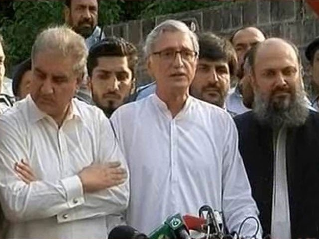"Talking to the media Kamal, who was was flanked by PTI's Shah Mehmood Qureshi, Jahangir Tareen and Pervaiz Khattak. said that, ""Both of us want to see Pakistan prosperous,"". SCREEN GRAB: EXPRESS"