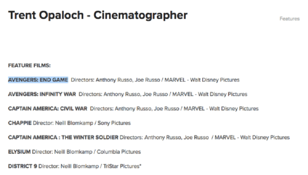 Cinematographer may have leaked title of 'Avengers 4'