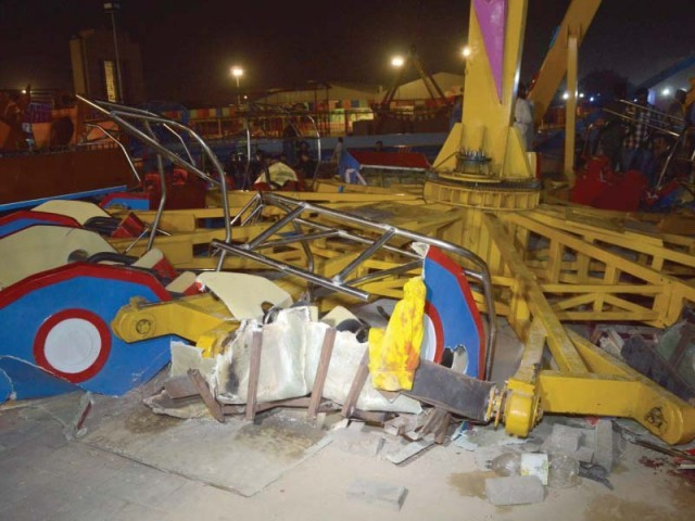 A 12-year-old girl, Kashaf Dukhtar, was killed and 25 others injured when a ride, being operated on a trial basis, in Karachi's newly-inaugurated Askari Amusement Park broke apart earlier this month. PHOTO: FILE