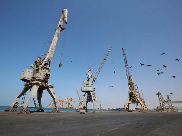 A view of cranes, damaged by air strikes, at the container terminal of the Red Sea port of Hodeidah, Yemen.  PHOTO: REUTERS