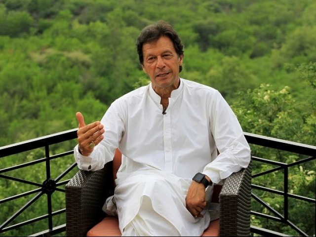 Imran Khan at his Bani Gala residence. PHOTO: REUTERS