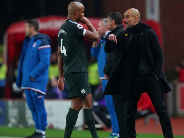 Record breakers: Guardiola has said he wants his players to improve on last season and perform even better. PHOTO: AFP