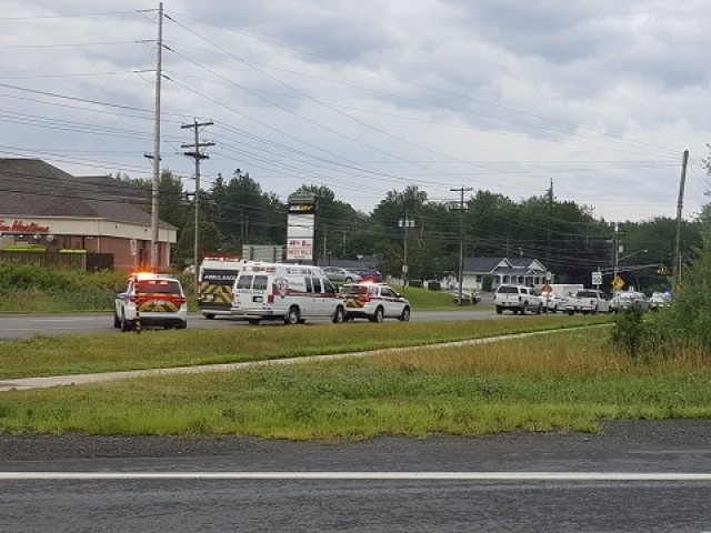 Emergency vehicles are seen at the Brookside Drive area in Fredericton, Canada August 10, 2018 in this picture obtained from social media. PHOTO: REUTERS