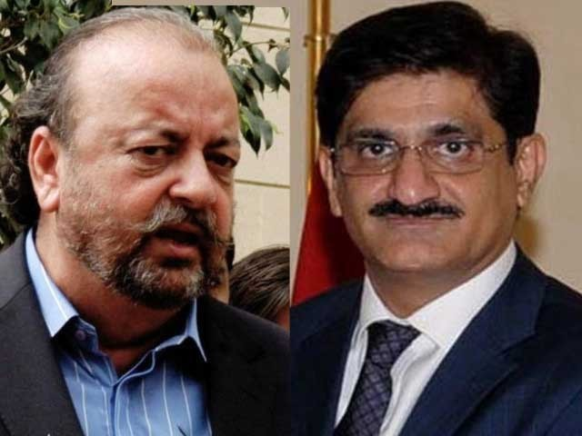 Sindh assembly speaker Agha Siraj Durrani and Chief Minister Sindh Murad Ali Shah. PHOTO: EXPRESS