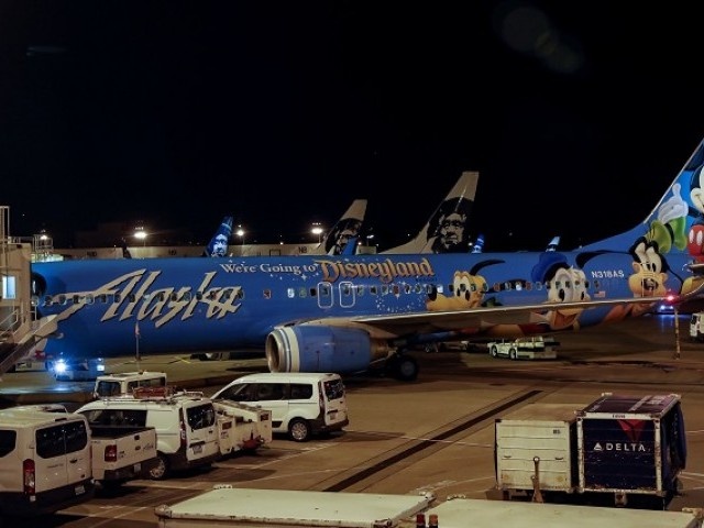 Air Alaska planes sit on the tarmac at the terminal following an incident where an airline employee took off in an airplane at Seattle Tacoma International Airport in Seattle Washington US