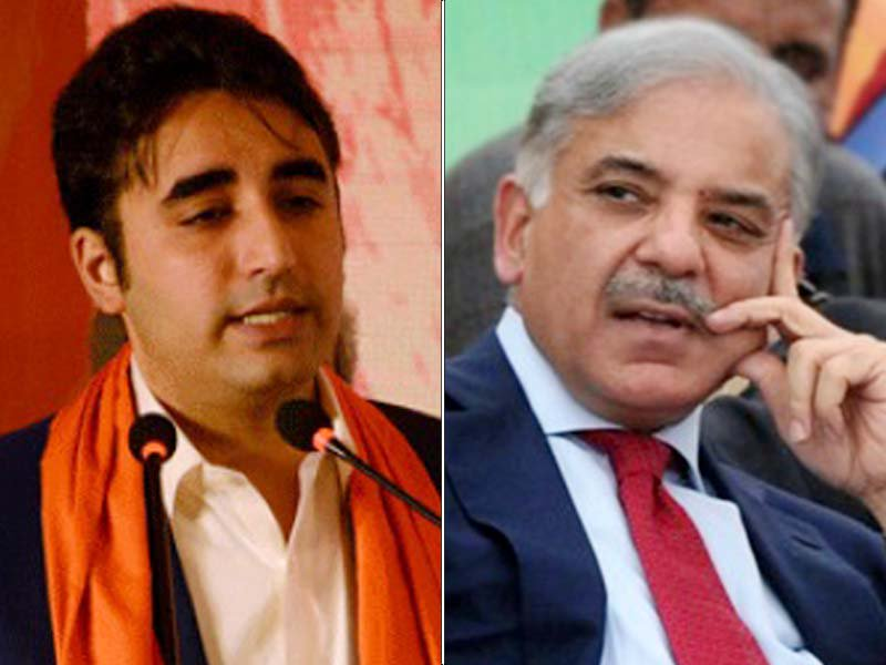 PPP chairman Bilawal Bhutto Zardari and PML-N president Shehbaz Sharif FILE PHOTOS