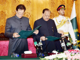 Imran Khan taking oath as PM.  PHOTO:APP