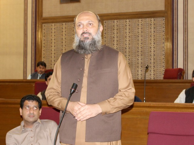 Balochistan Awami Party President Jam Kamal Khan responds to a point of order during the Balochistan Assembly session. PHOTO: EXPRESS