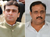 Hamza Shehbaz (left) and Sardar Usman Ahmad Khan Buzdar. PHOTO: EXPRESS/FILE