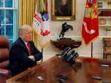 u-s-president-trump-answers-question-as-eight-devices-record-him-during-interview-with-reuters-in-oval-office-of-white-house-in-washington