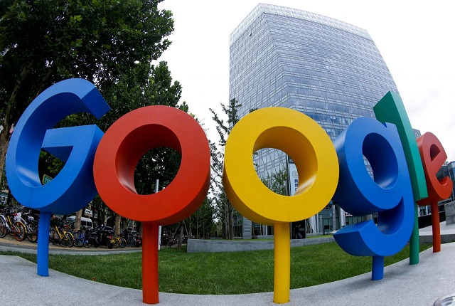 FILE PHOTO: The brand logo of Alphabet Inc's Google is seen outside its office in Beijing, China August 8, 2018. PHOTO: REUTERS