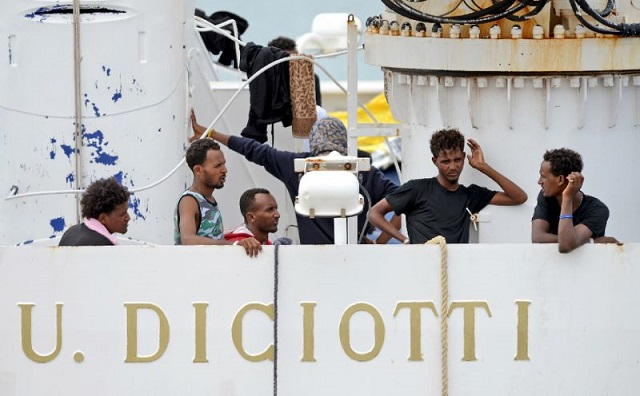 Migrants have been blocked at the Sicilian port of Catania on the Diciotti vessel since Monday night. PHOTO: AFP/ FILE