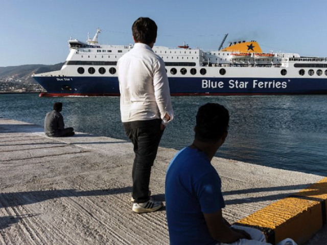 Greek ferry docks after fire. PHOTO: AFP