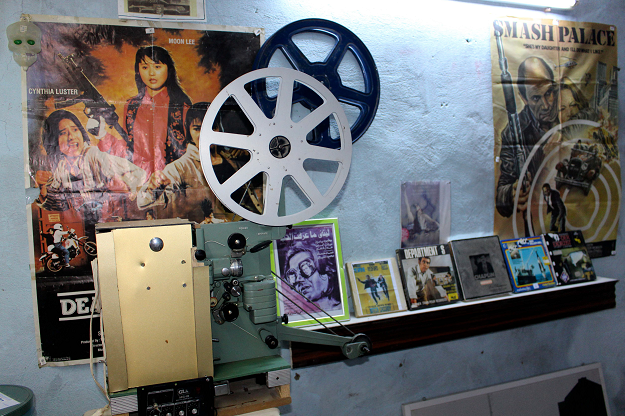 Movie paraphernalia is pictured in the basement of Abdel Qader al Ayoubi. PHOTO: AFP