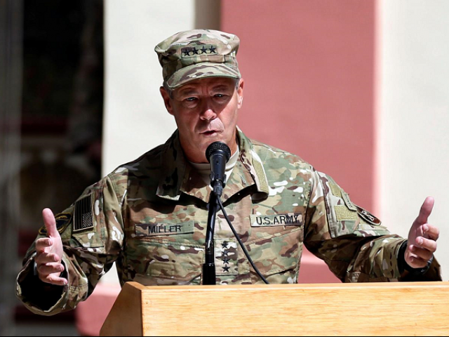 Incoming Commander of Resolute Support forces and command of NATO forces in Afghanistan US Army General Scott Miller speaks during a change of command ceremony in Resolute Support headquarters in Kabul Afghanistan