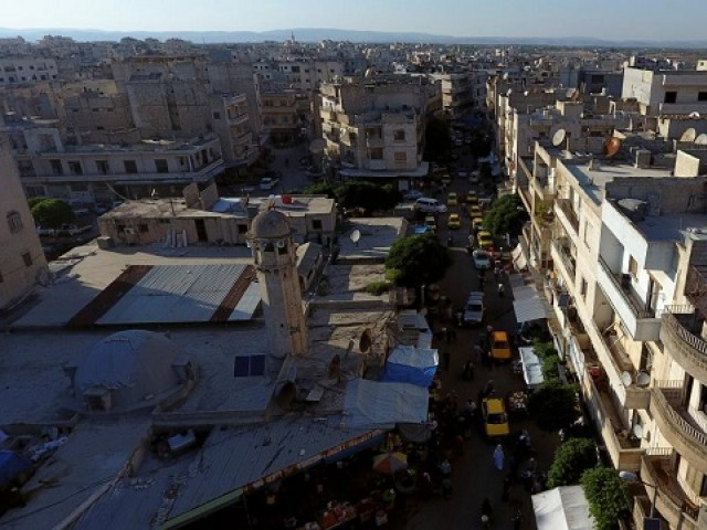 A general view taken with a drone shows part of the militant-held Idlib city, Syria  PHOTO: REUTERS