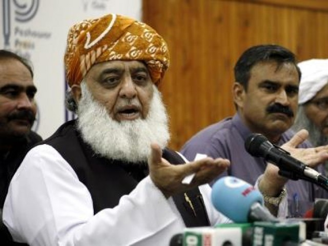 JUI-F chief Maulana Fazlur Rehman speaks during a press conference. PHOTO: PPI