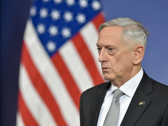 In this file photo taken on November 09, 2017 US Defense Minister James Mattis delivers a press conference during the second day of a defence ministers meeting at NATO headquarters in Brussels. - US Defense Secretary Jim Mattis landed in Kabul on Friday, September 6, 2018, for an unannounced visit to war-torn Afghanistan, adding his weight to a flurry of diplomatic efforts to bring the Taliban to the negotiating table. PHOTO: AFP