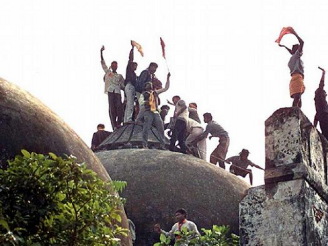 In 1992, Hindu zealots razed the historic Babri Masjid in Ayodhya triggering nationwide unrest.   PHOTO:AFP