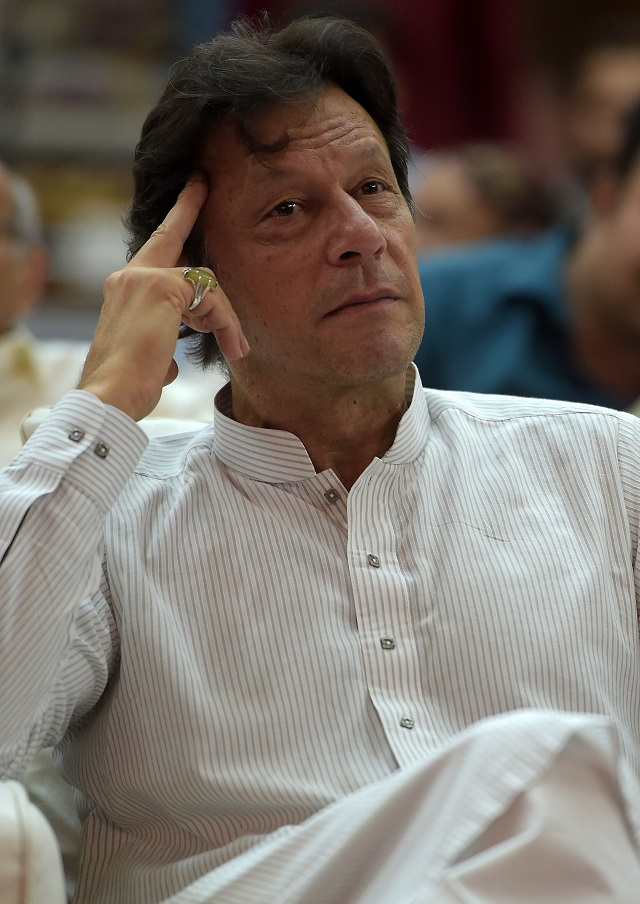 Prime Minister Imran Khan attends an election campaign rally in Islamabad on June 20, 2018. PHOTO:AFP