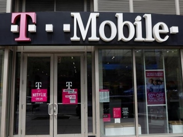 A sign for a T Mobile store is seen in Manhattan New York US