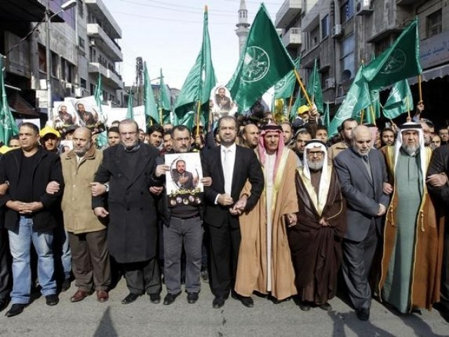 Leaders of the Muslim Brotherhood in Jordan lead a demonstration in the capital Amman on November 28, 2014, against Israeli 'violations' regarding the Al-Aqsa mosque compound in east Jerusalem. The tensions soared earlier this month when Israeli police entered the Al-Aqsa mosque compound during clashes triggered by a vow by far-right Jewish groups to pray at the holy site. PHOTO: AFP