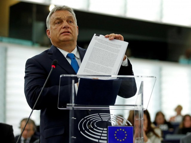 Hungarian Prime Minister Viktor Orban addresses MEPs during a debate on the situation in Hungary at the European Parliament in Strasbourg, France, September 11, 2018. PHOTO:REUTERS
