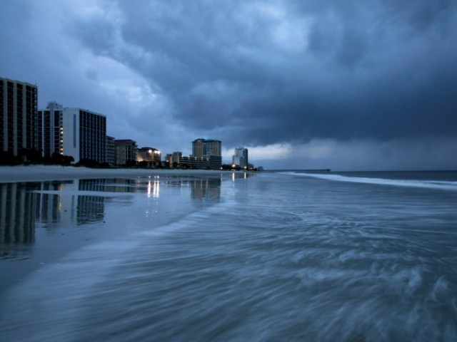 Rain begins to fall as the outer bands of Hurricane Florence make landfall in Myrtle Beach South Carolina