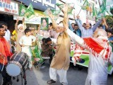 PML-N workers celebrating. PHOTO: EXPRESS