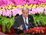 Antonio Guterres, the Secretary-General of the United Nations, gives a speech during the opening ceremony of the Forum on China-Africa Cooperation at the Great Hall of the People in Beijing September 3, 2018. PHOTO: REUTERS
