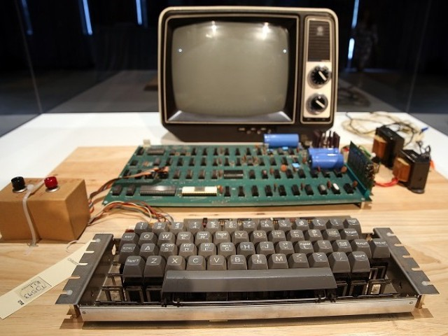 An Apple-1 computer built in 1976 is displayed during the First Bytes Iconic Technology From the Twentieth Century an online auction featuring vintage tech products at the Computer History Museum in Mountain View California