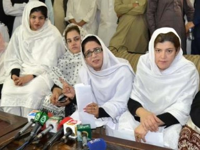 Female lawyers during press conference in Quetta. PHOTO: ONLINE
