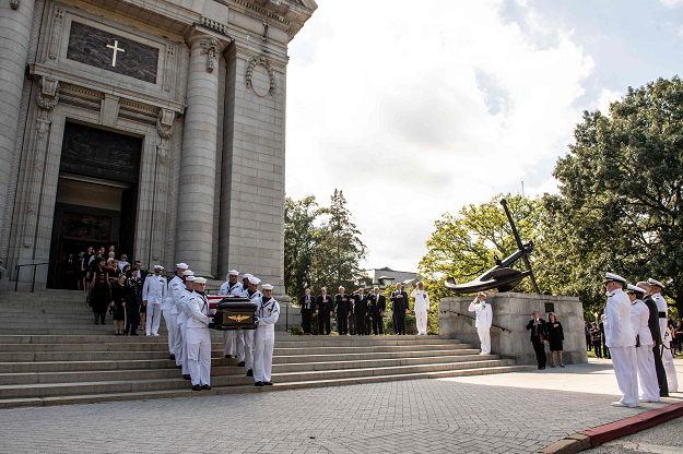 As fighter jets streak overhead, McCain is buried in Annapolis