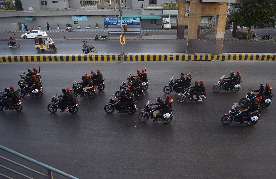 Pakistani security personnel during Muharram in Karachi on September 16, 2018. PHOTO:AFP