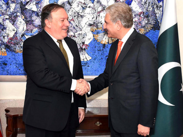 Bilateral issues, regional security matters to be discussed in Qureshi-Pompeo huddle.  PHOTO: AFP/FILE