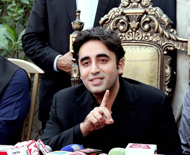 Bilawal Bhutto Zardari adressing a press conference. PHOTO:APP