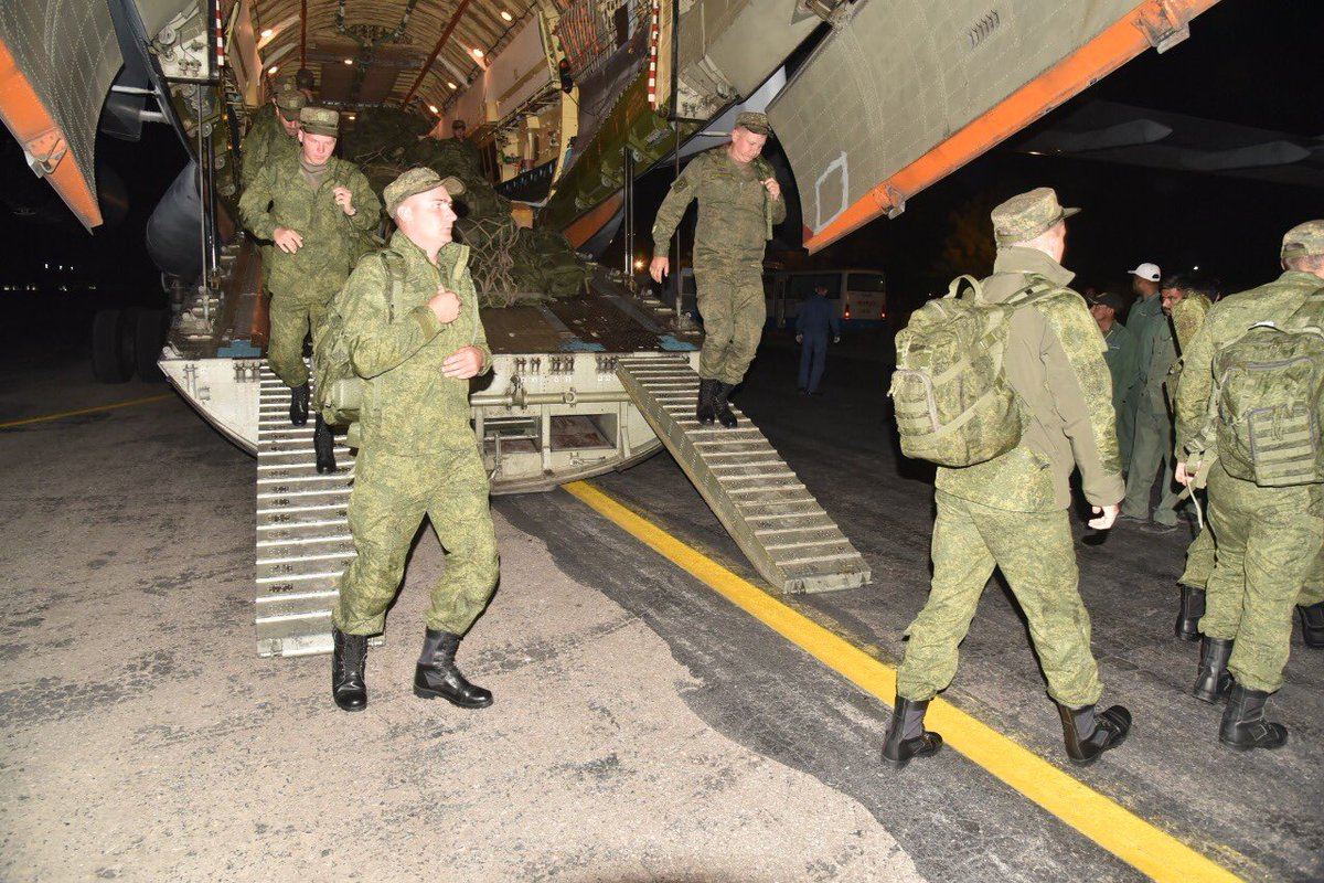 Russian soldiers arrive in Pakistan for Druzbha III. PHOTO: ISPR