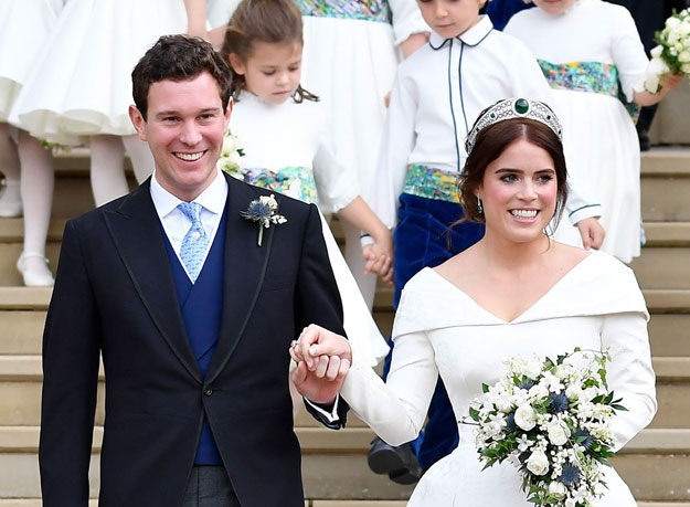 Princess Eugenie debuts third wedding look in a daring pink jacket