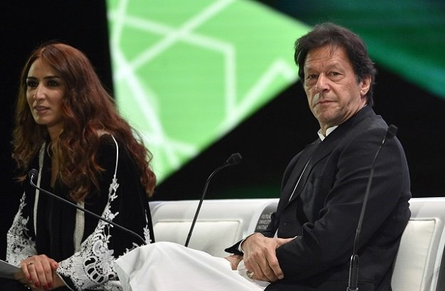 Prime Minister Imran Khan in a discussion with a presenter during the opening ceremony of the Future Investment Initiative FII conference on October 23, 2018 . PHOTO:AFP