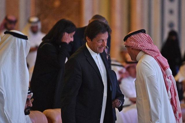 Prime Minister Imran Khan(C) as he arrives to attend the opening ceremony of the Future Investment Initiative FII conference in Riyadh on October 23. PHOTO:AFP