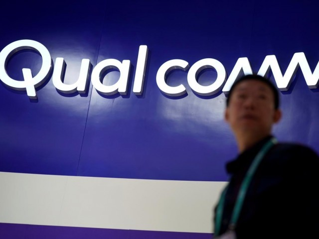 A Qualcomm sign is seen during the China International Import Expo (CIIE). PHOTO: REUTERS